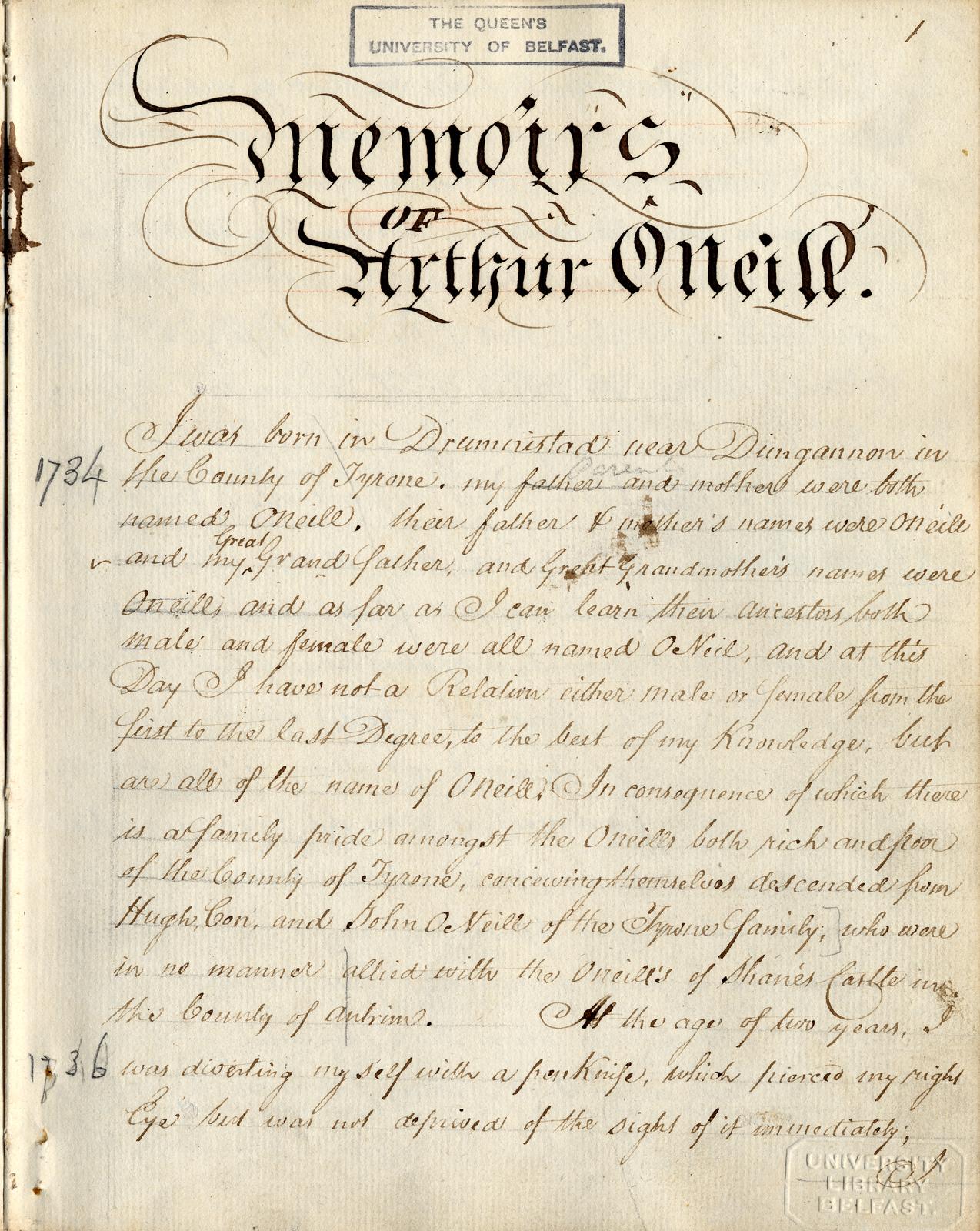 MS 4/14/1, Memoirs of Arthur O'Neill