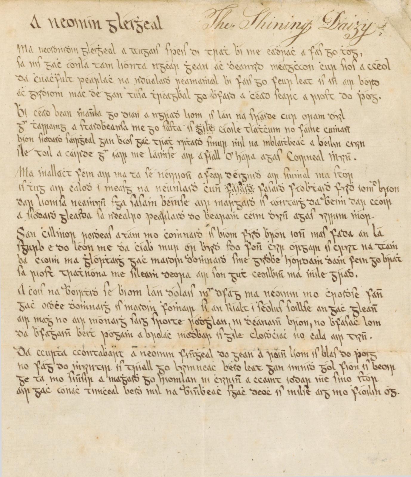 MS 4/26, Collections of songs in Irish, and memoranda