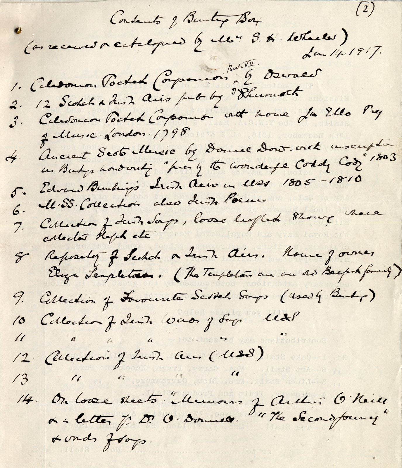 Early catalogue of the Bunting collection