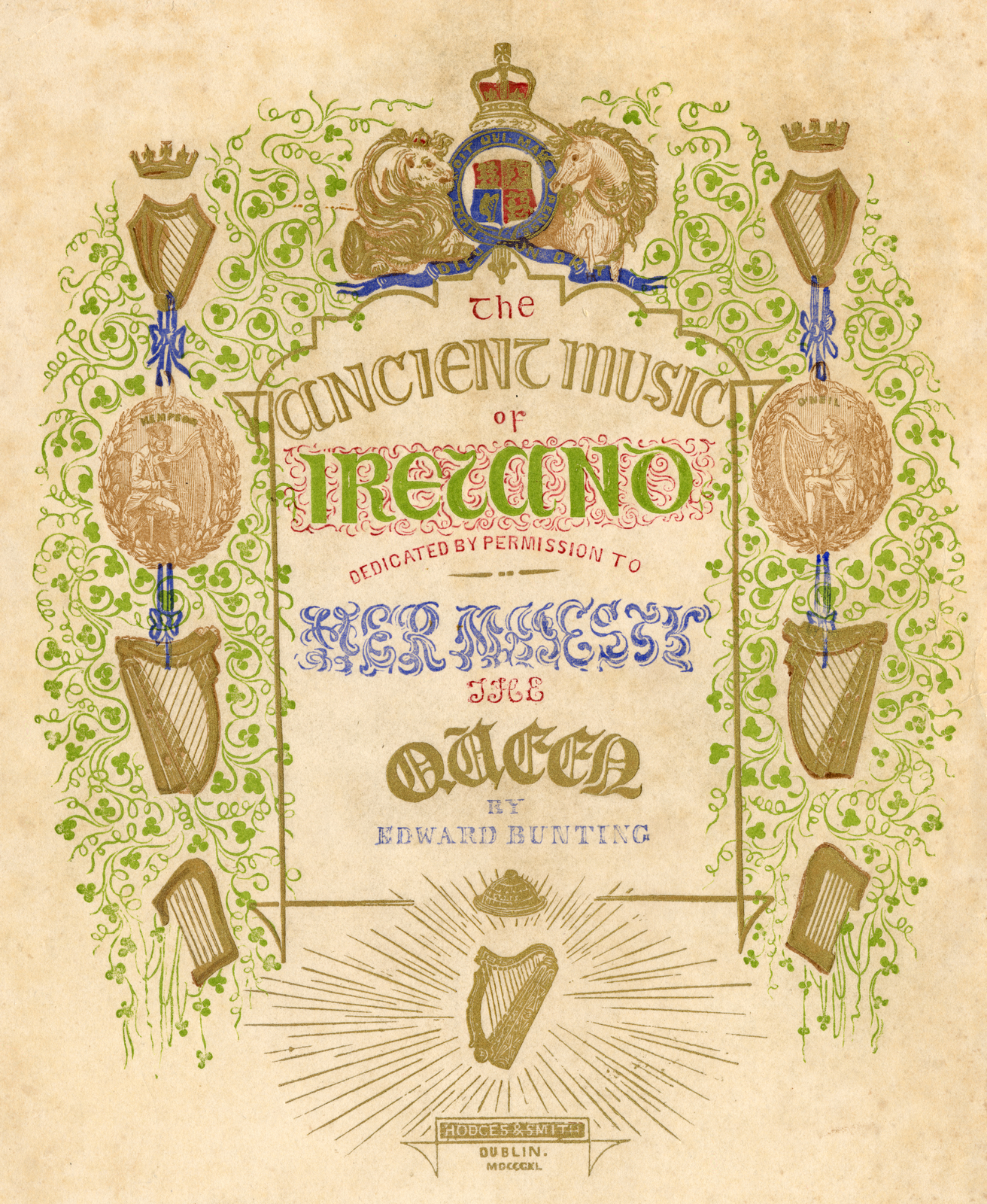 MS 4/35/45 Loose plate, title page of Bunting's 1840 publication 'The Ancient Music of Ireland'