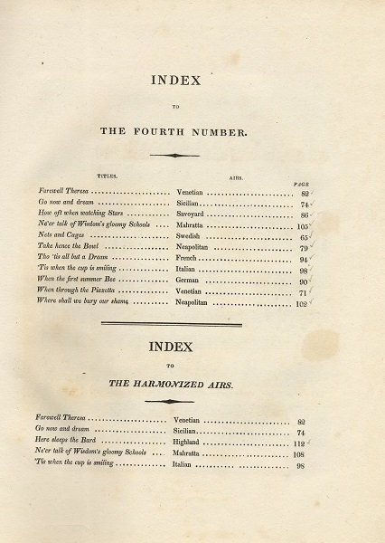 Index Thomas Moore's National Airs Fourth Number