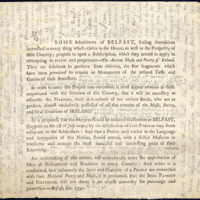 Leaflet with reference to the proposed harpers' meeting in Belfast