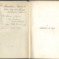 Thoms, William. The longevity of man  its facts and fictions  with a prefatory letter to Prof. Owen (1879) provenance signature.jpg