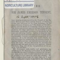 Lecture by Sir James Emerson Tennent