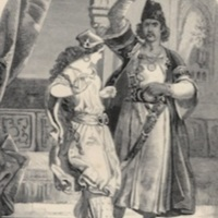 Hafed shows his belt to Hinda, by Tenniel.1863a, p.185.jpg