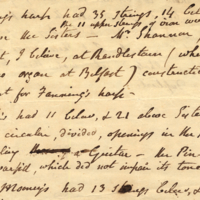 MS 4/35/16a Unsigned memorandum from J. McDonnell, referring to construction of Fanning's harp, and other harpers' instruments